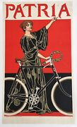 Original Vintage Bicycle Poster, 'patria' French Rare Lithograph Poster, 1900