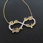 14k Diamond Necklace 4 Names Infinity Charm Personalized Jewelry Gift For Her
