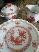 Herend Indian Basket And Chinese Bouquet Patterned  Tea Set 18pieces
