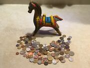 Rare 1950's Mexico Horse Pottery Mint Bank 1/2 Pound World And Foreign Coin Lot