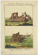 Antique Print Of A Roman Catapult And Ballista By Weindl 1810