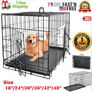 Extra Large Dog Crate Kennel 48/42/36/30/24 Folding Pet Cage Metal Us Ship