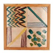 A Scandinavian Framed Tiled Picture Hand Painted Abstract Design 1980's