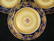 4 George Jones And Sons Crescent Floral Gilded And Cobalt Blue Dinner Plates 10.5