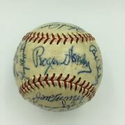 Beautiful Rogers Hornsby Hank Aaron 1950and039s Hall Of Fame Signed Baseball Jsa