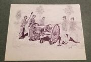 Original Pen And Ink Civil War Cannon Scene Signed By George Trimly On 8.5x11