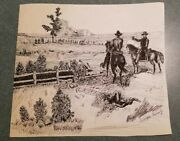 Original Pen And Ink Civil War Battle Scene Signed By George Trimly 9x10