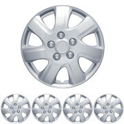 4 Pc 16 Silver Snap-on Hubcaps Premium Abs Oem Replacement Wheel Covers