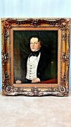 Antique 19c Old Master Oil On Canvas Painting Of A Gentlemanw/gilt White Vest