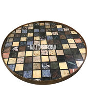 24and039and039 Black Marble Top Center Round Table Pietradura Cubes Arts Inlay Home Decor