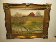 18x24 Org. 1950 Oil Painting By Ramon Mitchell Froman Of Creekside Farm House