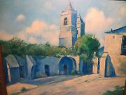 22x28 Org. Oil Painting By Hardy Martin Of The San Miguel San Antonio Mission