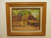 8x10 Original 1940 Oil Painting By Dollie S. Nabinger Of Texas Mexican Hut