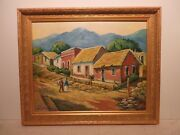 16x20 Org. 2016 Oil Painting By Hardy Martin Of Tropical Mexican Village