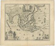 Antique Map Of Southeast Asia By Blaeu C.1640