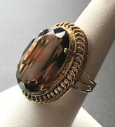 Statement Vintage Israel Stamp/made 14k Yellow Gold Large Oval Smoky Quartz Ring