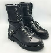 Auth. Valentino Garavani Size 8 Ankle Boots Black Leather Combat Motorcycle