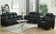 Modern Casual 3-piece Faux Leather Sofa Set With Couch Loveseat And Chair Black