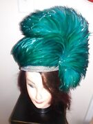 Jack Mcconnell Vintage Red Feather Hat, Teal Green Feathers And Rhinestones.