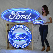 Lot Of 3 Neon Signs 60 Wide Ford Oval In Can Mustang Service Ford Trucks Olp