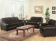 Modern Casual Corduroy Faux Leather 3 Piece Sofa Loveseat Chair Living Room Set