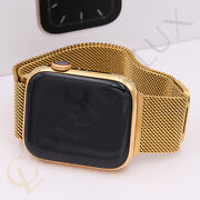 45mm Apple Watch Series 7 Stainless Steel Case, Custom 24k Gold Plated, Milanese