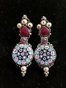Sterling Silver Handcrafted Murano Millifiori Glass, Indian Ruby, Pearl Earrings