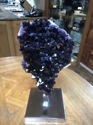 Museum Quality Amethyst On Chrome Stand 18x8in. Artigas Uruguay
