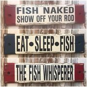 Set Of 3 Rustic Fishing Signs