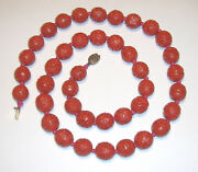 Chinese Vintage 15.5mm Carved Cinnabar Bead Hand Knotted Necklace 28.5 Silver