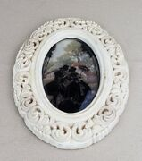 Vintage Ornate Oval Shaped Picture Frame Convex Bubble Glass Chalk Silhouette