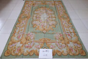 Beautiful Green Color Victorian Style Hand Woven Chic Shabby Aubusson Rug