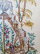 Vintage Cross Stitch Needlepoint Art Completed Matted Framed Waterfall Floral