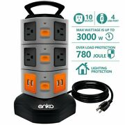Power Strip Tower 10 Outlets 4 Usb Ports With 6ft Heavy Duty Extension Cord