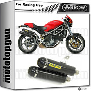 Arrow 2 Exhaust Race Round-sil Carby Carbon Ducati Monster S2r 1000 2005 05