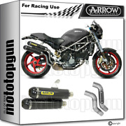 Arrow 2 Kit Exhaust Race Round-sil Carby Carbon Ducati Monster S4r 2003 03