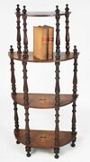 Antique Victorian Walnut Marquetry Inlaid Whatnot Shelves [4286]