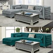 Modern Glam Fabric Upholstered Tufted Velvet Sofa Sectional With Storage Chaise