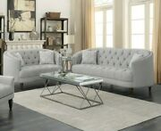 Modern Traditional Living Room 2-piece Sofa Loveseat Couch Set Grey Fabric