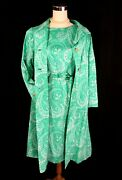 Vintage House Of Lords Green White Paisley Coat And Sleeveless Shift Dress - M