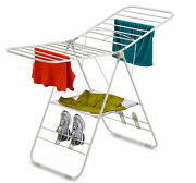 Heavy-duty Steel Gullwing Folding Drying Rack Clothes Shoes Laundry Dryer White