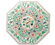 30 Marble Coffee Side Table Top Real Malachite Inlay Marquetry Floral Art Decor