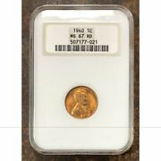 1940 Lincoln Cent Ngc Ms67 Rd Rev Tyeand039s 7021