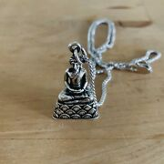 Sterling Silver Solid Buddha Necklace, Monk Necklace, Unisex Necklace