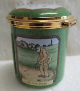 Staffordshire Enameled Stamp Box 22kt Rim-old Tom Morris 1990's Great Condition