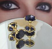 Vintage Sulka 18k Gold Frence Marks 12mm Synthetic Blue Sapphire