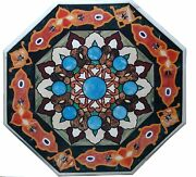 24 Black Marble Corner Coffee Table Top Rare Inlay Marquetry Art Outdoor Art