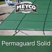 Meyco 18 X 36 Rectangle Permaguard Green Safety Pool Cover W/ Drains
