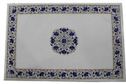 2.5and039x3and039 White Marble Dining Table Top Lapis Stone Inlay Mosaic Floral Work Decor