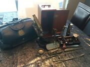 Vintage Bausch And Lomb Microscope Assorted Medical Equipment Tools Doctorand039s Bag